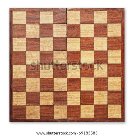 Old wooden chess board isolated, clipping path. - stock photo
