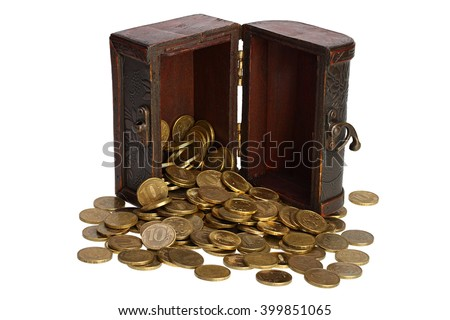 Old wooden chest with coins of the yellow metal on white background with Clipping Path - stock photo