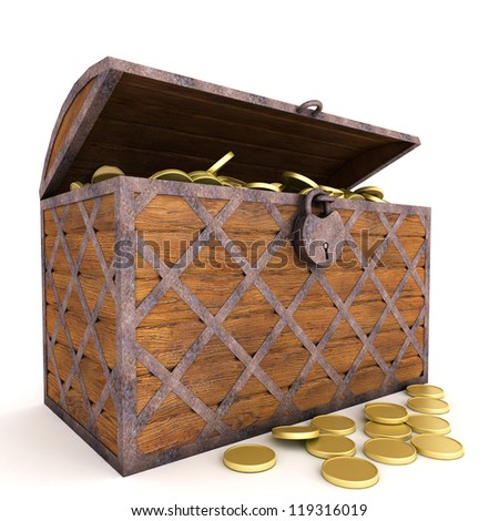 Old wooden chest with gold coins.Iisolated on white. - stock photo