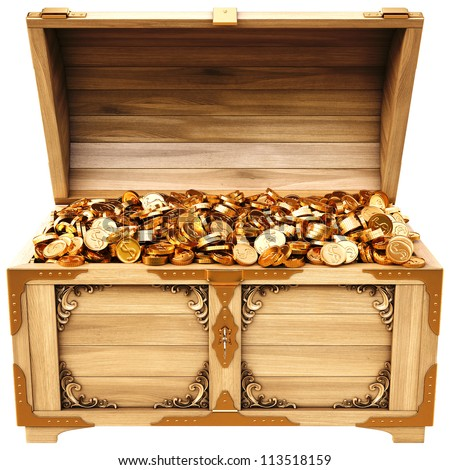 old wooden chest with gold coins. isolated on a white background. - stock photo