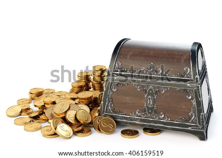 old wooden chest with gold coins. isolated on a white background. 3D illustration. - stock photo