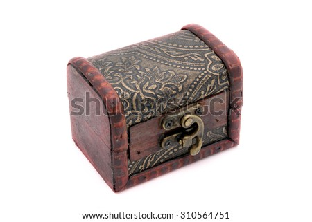Old wooden chest with golden coins, on white background