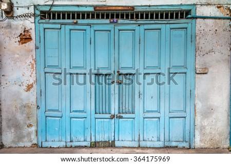 old wooden chinese door - stock photo