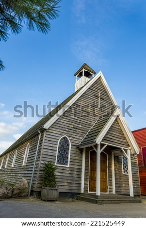 old wooden church canadian or american style - stock photo