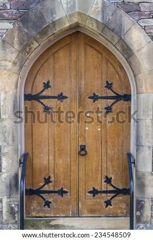Old Wooden Church Door  - stock photo