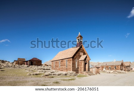 Old wooden church in Bodie state park - stock photo