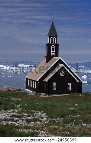 Old wooden church in Ilulissat, West Greenland - stock photo
