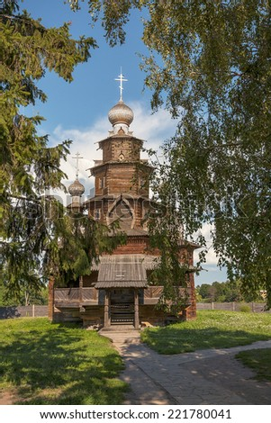 Old wooden church in Suzdal, Russia - stock photo