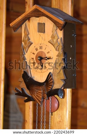 old wooden clock  cuckoo - stock photo