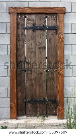 old wooden closed door