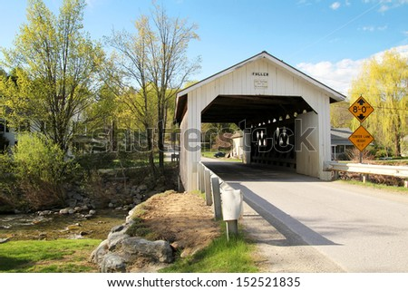 Old wooden covered bridge in Vermont, United States - stock photo