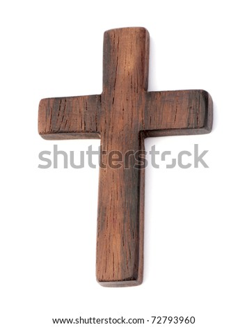 old wooden cross on white background - stock photo