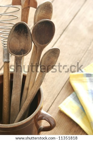 old wooden cutlery