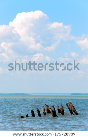 Old wooden dock, pillars sticking out of the water - stock photo