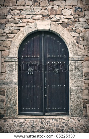 Old wooden door - stock photo