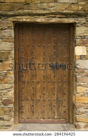 old wooden door, detail of a old house
