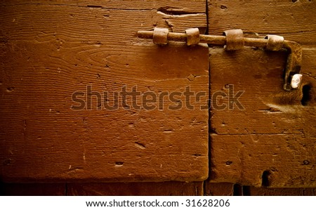 Old wooden door in pitigliano tuscany