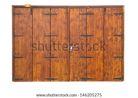 Old wooden door isolated on white - stock photo