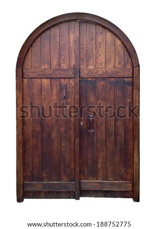 old wooden door isolated with clipping path - stock photo