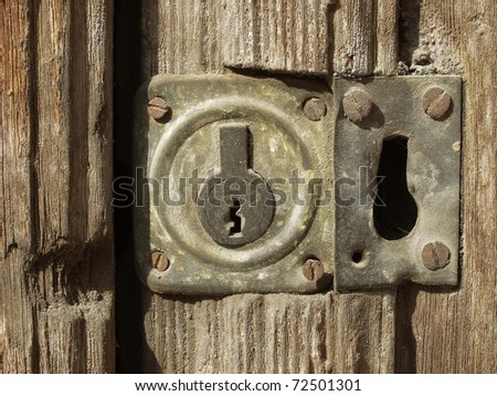 old wooden door whith keyhole - stock photo
