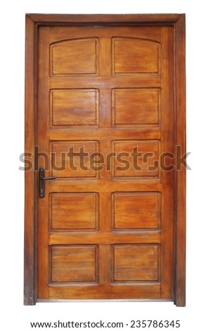 old wooden door with frame isolation on white background for your architectural design