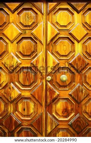 old wooden door with handle - stock photo