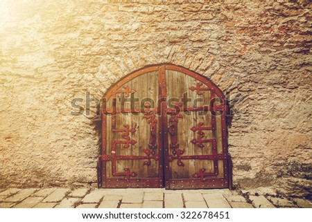 old Wooden door with ornaments - stock photo
