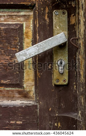 Old wooden door with rust handle close up & Old Wooden Door Rust Handle Close Stock Photo 436045624 - Shutterstock
