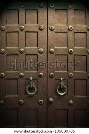 Old Wooden Double Doors - stock photo