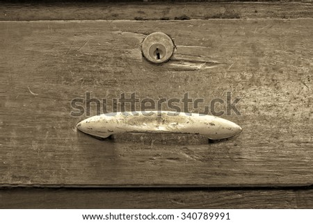 Old wooden drawer - stock photo