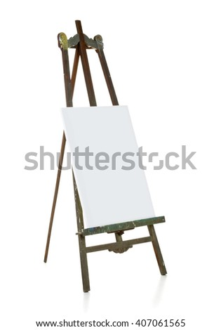 Old wooden easel with blank canvas over white background