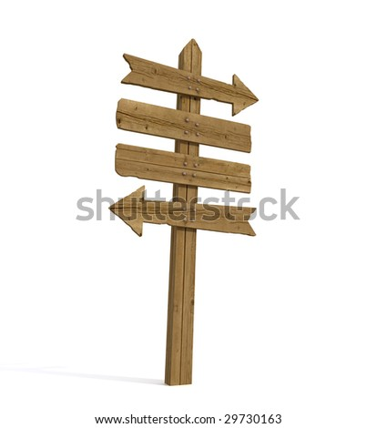 Old wooden empty sign post  on white background - rendering