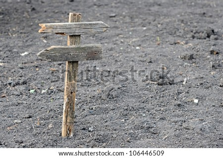 old wooden empty signpost - stock photo