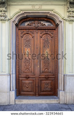 Old Wooden Entrance Door - beautiful decorated, traditional history, Granada, Spain, Europe