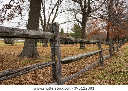 Old Wooden Fence in the Village.