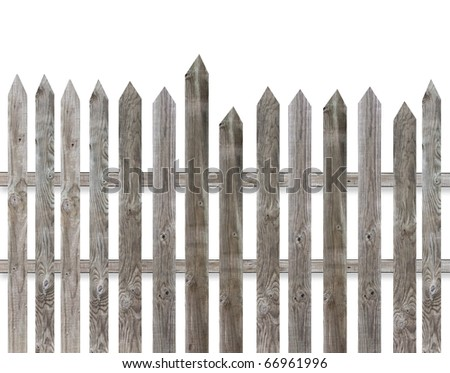 Old wooden fence isolate over white background - stock photo