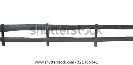 Old wooden fence on white background - stock photo