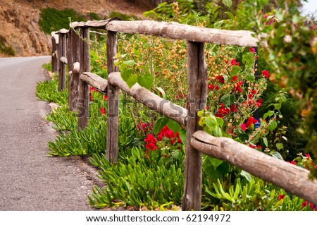 Old wooden fence with flowers. - stock photo