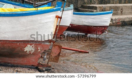 Old wooden fishing boats at the shore. Nessebur, Bulgaria - stock photo
