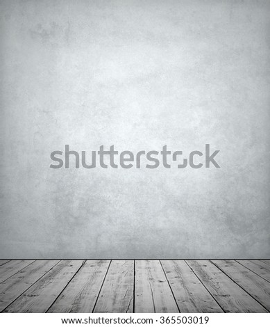 Old wooden floor with textured wall, vintage look - stock photo