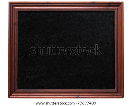 Old wooden frame blackboard isolated on white. - stock photo