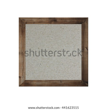 Old wooden frame isolated and have brown paper background on white Backdrop.
