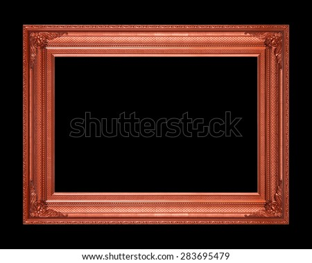 Old wooden frame isolated on a black background. - stock photo