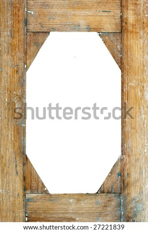 Old wooden frame on white background - stock photo