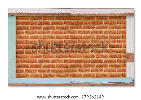 old wooden frame with brick wall background, retro message board