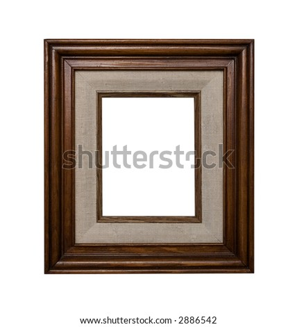 Old wooden frame with canvas element - stock photo