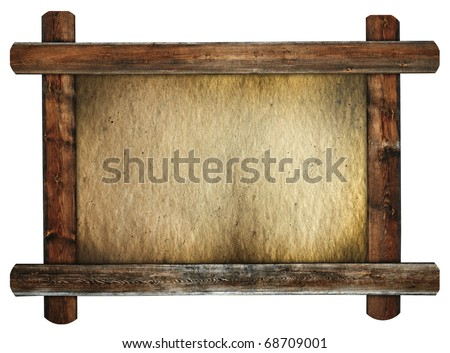 old wooden frame with dirty paper retro message board