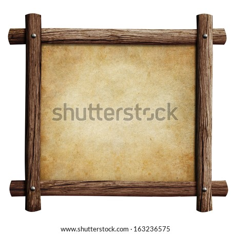 old wooden frame with paper or parchment background isolated on white - stock photo