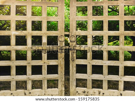 old wooden gates - stock photo