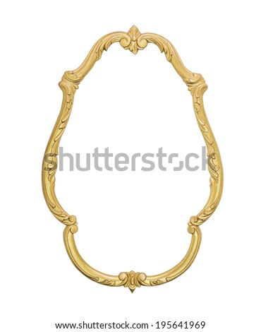 old wooden gilded frame isolated on white background - stock photo